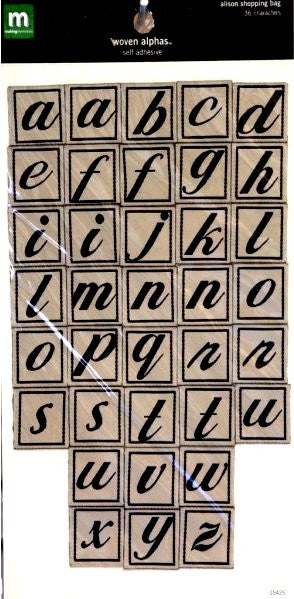 Making Memories Alison Shopping Bag Beige & Black Woven Alphabet Stickers - SCRAPBOOKFARE