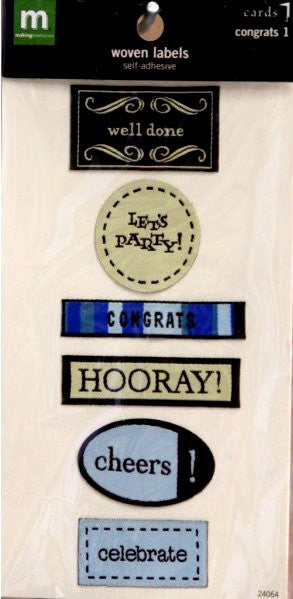 Making Memories Congrats 1 Card Woven Labels - SCRAPBOOKFARE