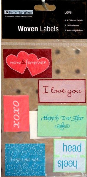 Colorbok Remember When Love Woven Labels - SCRAPBOOKFARE