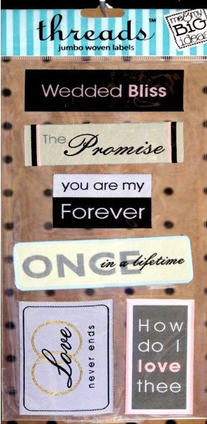 Me & My Big Ideas Wedding Jumbo Woven Threads Labels - SCRAPBOOKFARE