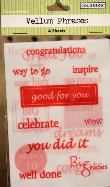 Colorbok Congratulations Vellum Phrases - SCRAPBOOKFARE
