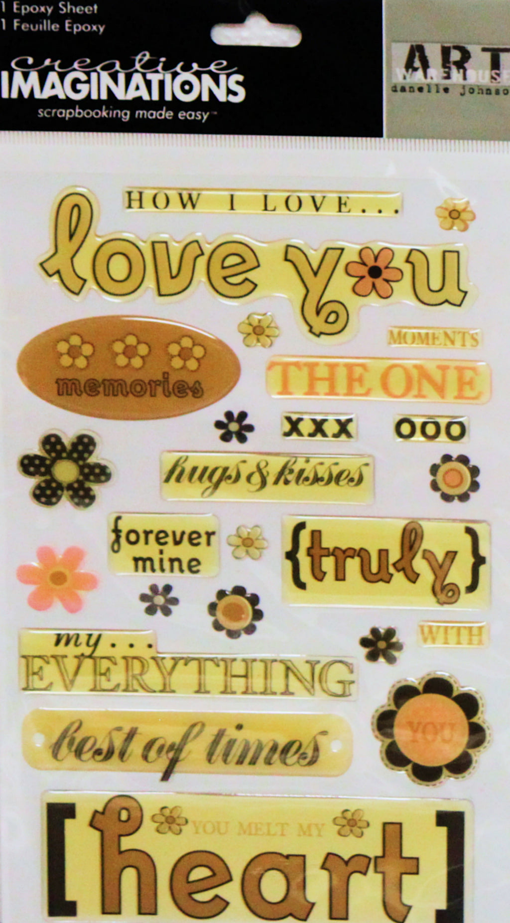 Creative Imaginations Love You Dimensional Epoxy Stickers