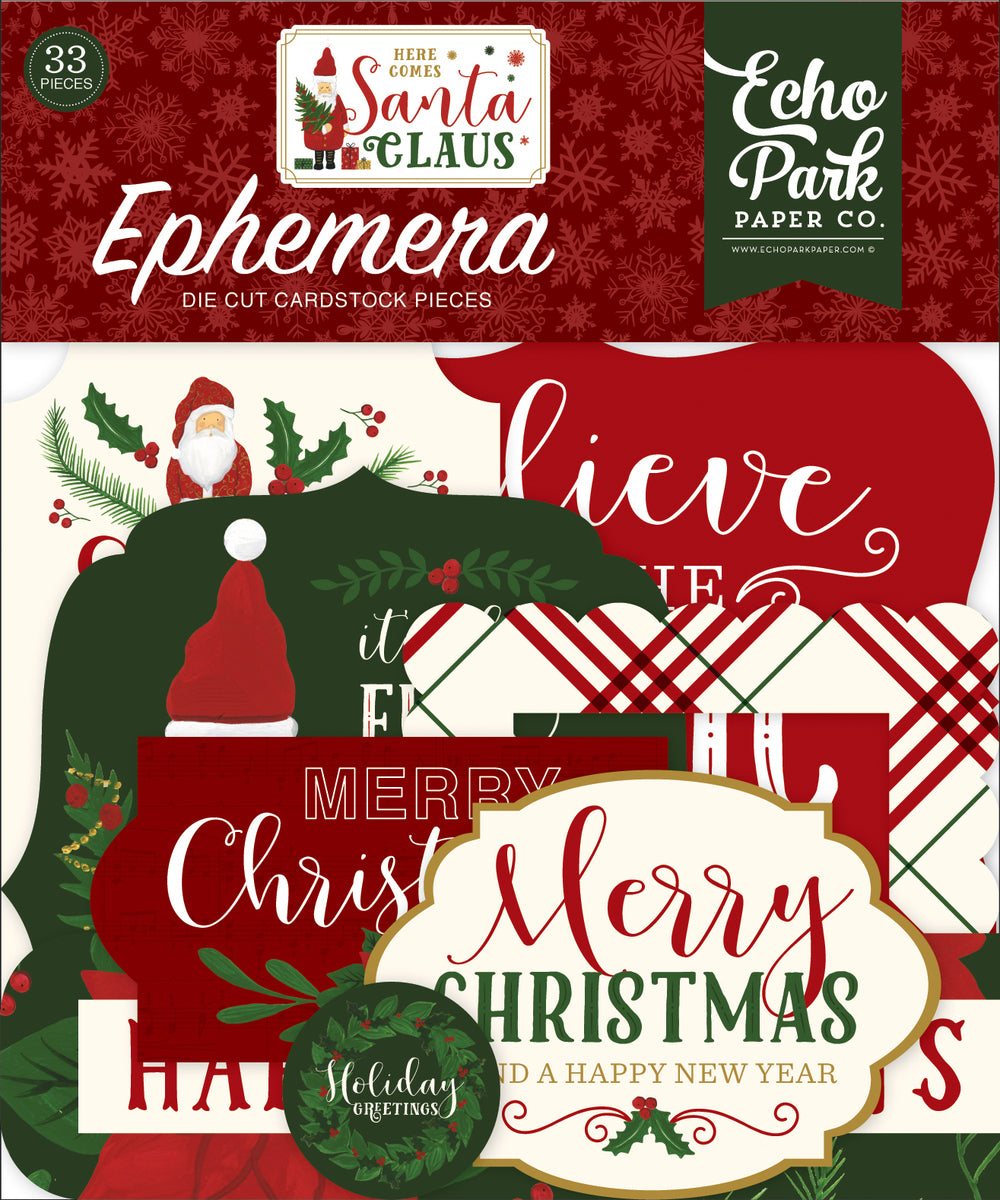 Echo Park Here Comes Santa Claus 33pc Die-Cut Ephemera