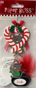 Paper Bliss Merry Christmouse 3-D Dimensional Scrapbook Stickers - SCRAPBOOKFARE