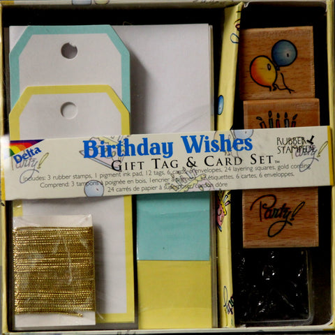 Rubber Stampede Birthday Wishes Gift Tag & Card Set