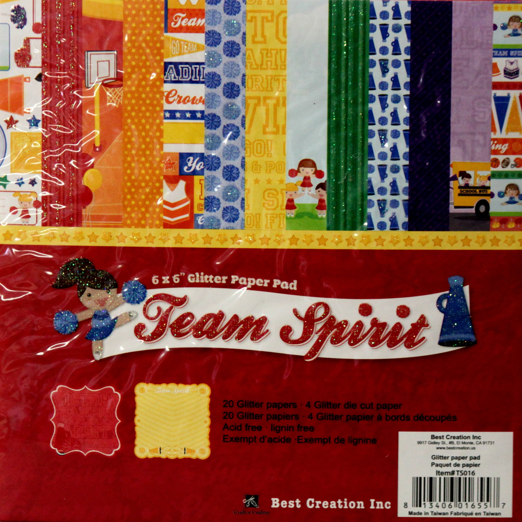 Team Spirit 6 x 6 Double-Sided Glitter Paper Pad