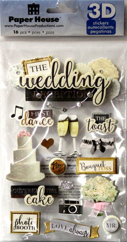 Paper House 3D Dimensional Wedding Reception Stickers