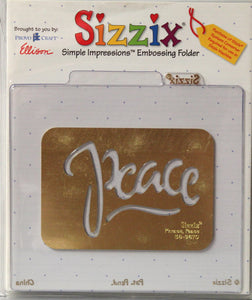 Sizzix Peace Simple Impressions Brass Stencil & Embossing Folder