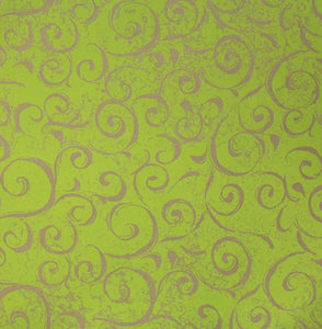 Gold Swirls Light Green Double-sided Printed 12 x 12 Cardstock Scrapbook Paper