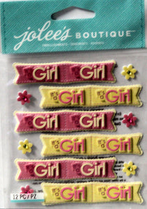 Jolee's Boutique Baby Girl Banner Dimensional Stickers - SCRAPBOOKFARE