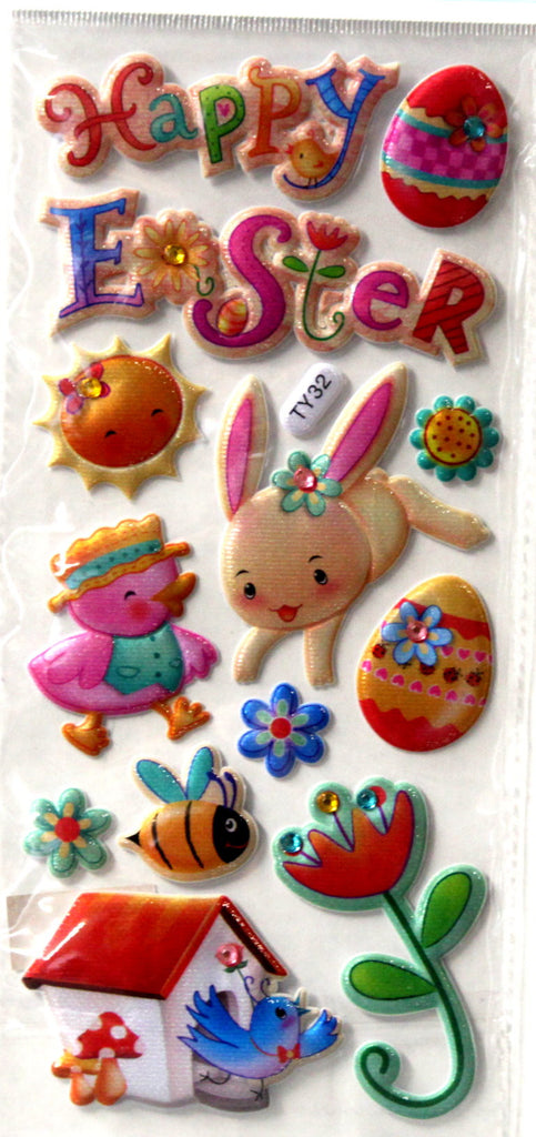 Vivamerica Dimensional Puffy Gem Happy Easter Stickers