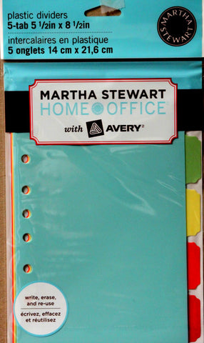 Martha Stewart Home Office 5-tab 5 1/2 x 8 1/2 Plastic Dividers