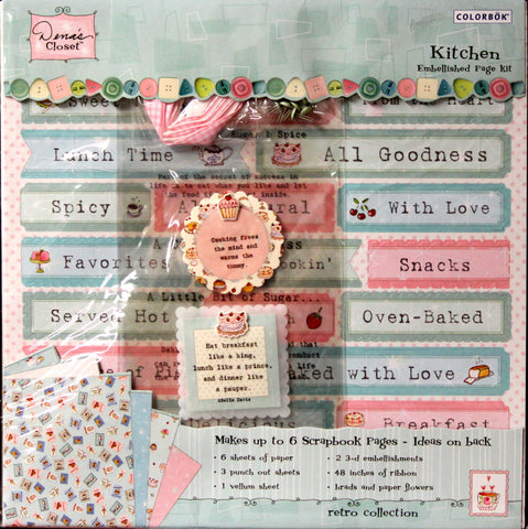 Colorbok Dena's Closet Kitchen Retro Collection Embellished Scrapbook Pages Kit - SCRAPBOOKFARE