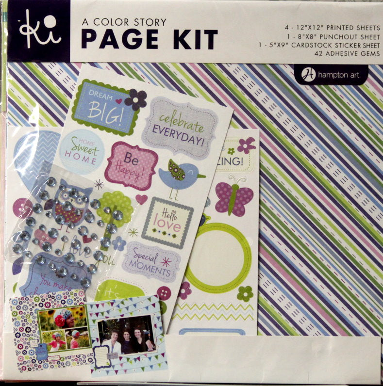 Ki A Color Story Blue 12 x 12  Scrapbook Page Kit