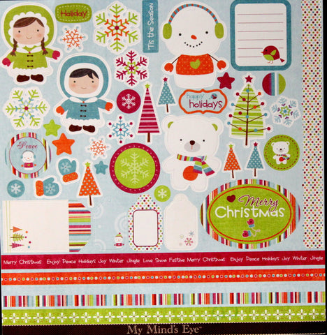 My Mind's Eye Colorful Christmas Accessory Punch-out Sheet - SCRAPBOOKFARE