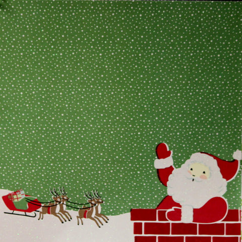 "Martha Stewart Crafts Holiday Christmas Santa & His Sleigh 12"" x 12"" Designer Specialty Cardstock Scrapbook Paper"