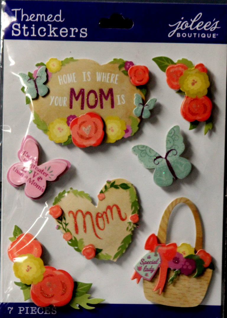 EK Success Jolee's Boutique Mom Icons & Words Glittered Dimensional Scrapbook Stickers - SCRAPBOOKFARE