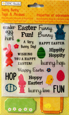 TPC Studio Sunny Bunny Tags & Phrases Matteboard Stickers & Rub-ons