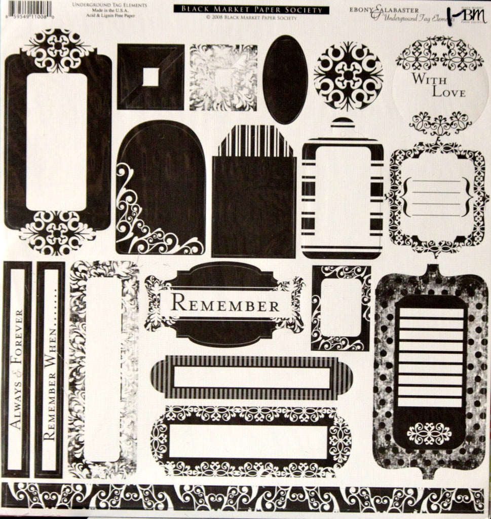 Black Market Paper Society Ebony & Alabaster Underground Tag Elements Punch-out Sheet - SCRAPBOOKFARE