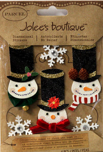 Jolee's Boutique Parcel Glittered Snowmen Dimensional Scrapbook Stickers