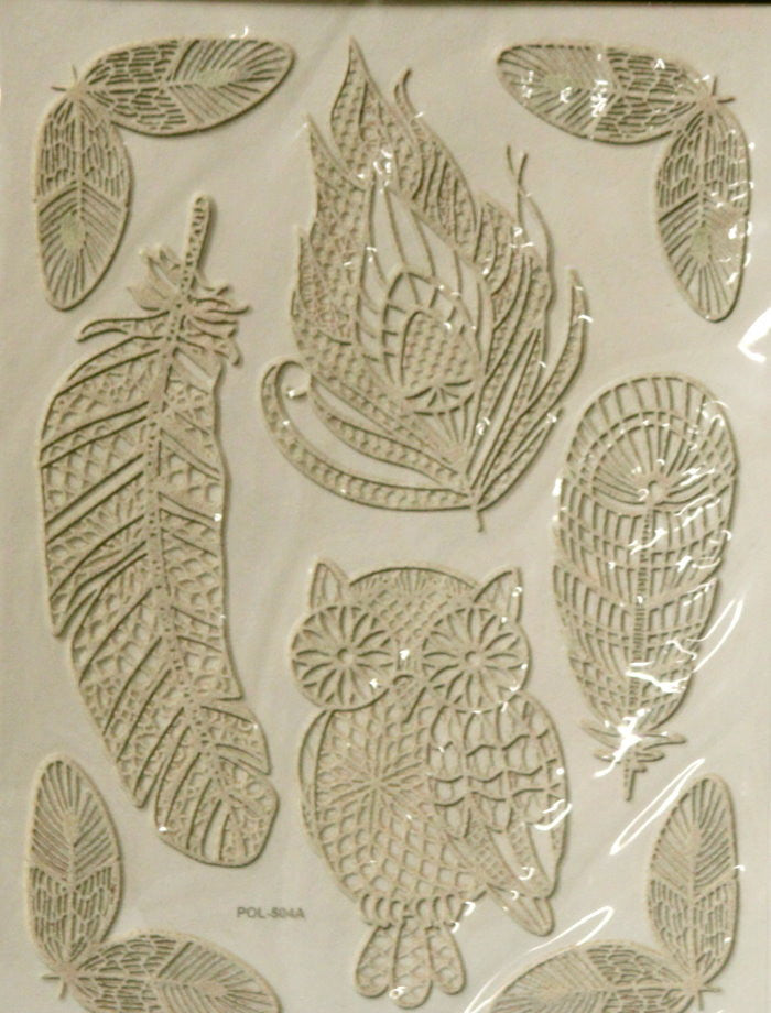 Beautiful Tan Lace Owl & Feathers Epoxy Stickers