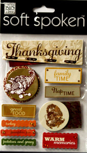 Me & My Big Ideas Soft Spoken Thanksgiving Dimensional Sticker Embellishments - SCRAPBOOKFARE