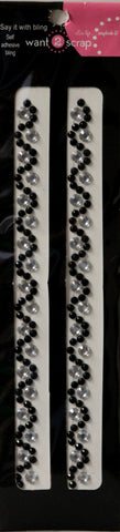 Want 2 Scrap Say It With Bling Black & Silver Wave Gem Self-Adhesive Borders Embellishments