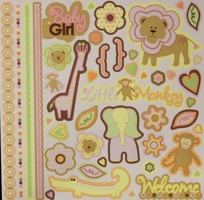 Best Creation Inc. Safari Girl Glitter Cardstock Stickers Sheet