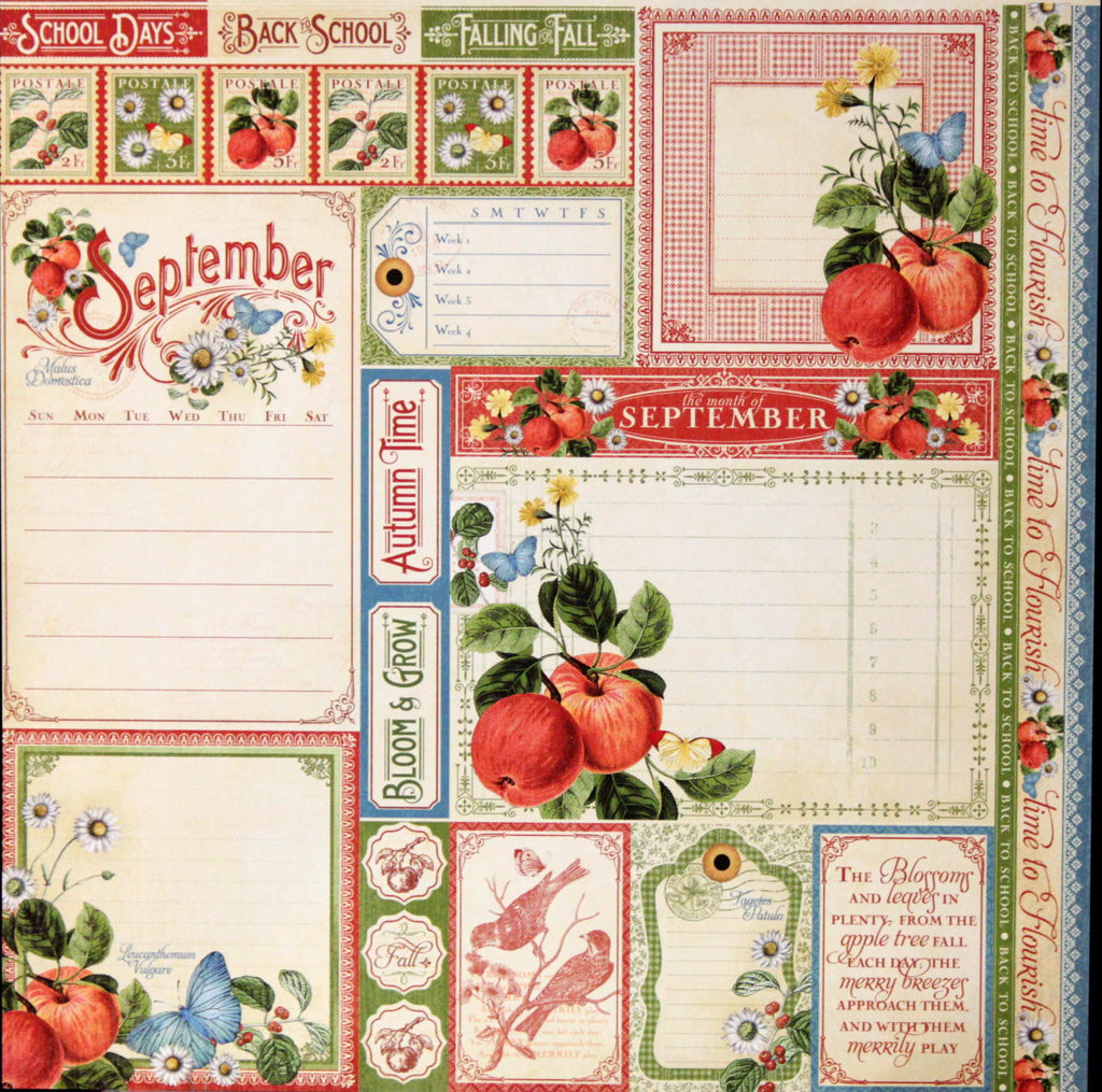 Graphic 45 Time To Flourish Collection 12 x 12 September Cut-Apart Embellishments - SCRAPBOOKFARE