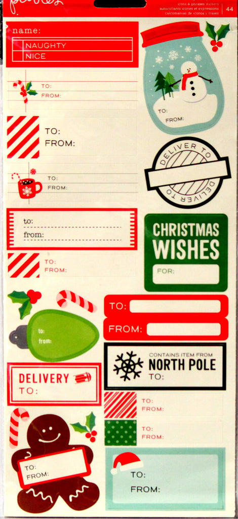 Pebbles Christmas Icons & Phrases Self-Adhesive Diecut Cardstock Stickers