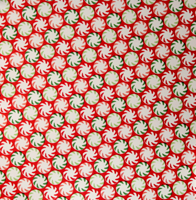 "Martha Stewart Crafts Holiday Peppermint Candy 12"" x 12"" Designer Cardstock Scrapbook Paper"