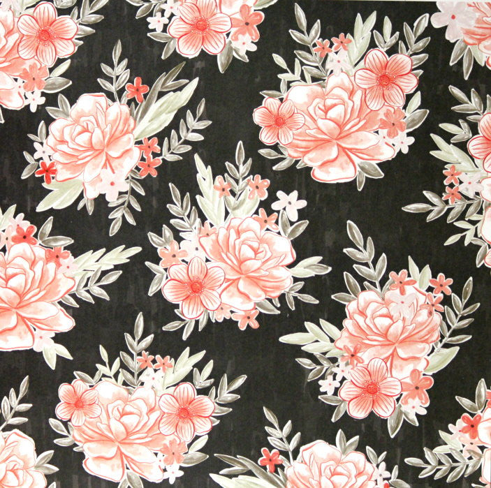 American Crafts The Color of Memories 12 x 12 Beautiful Peach Flowers Scrapbook Paper