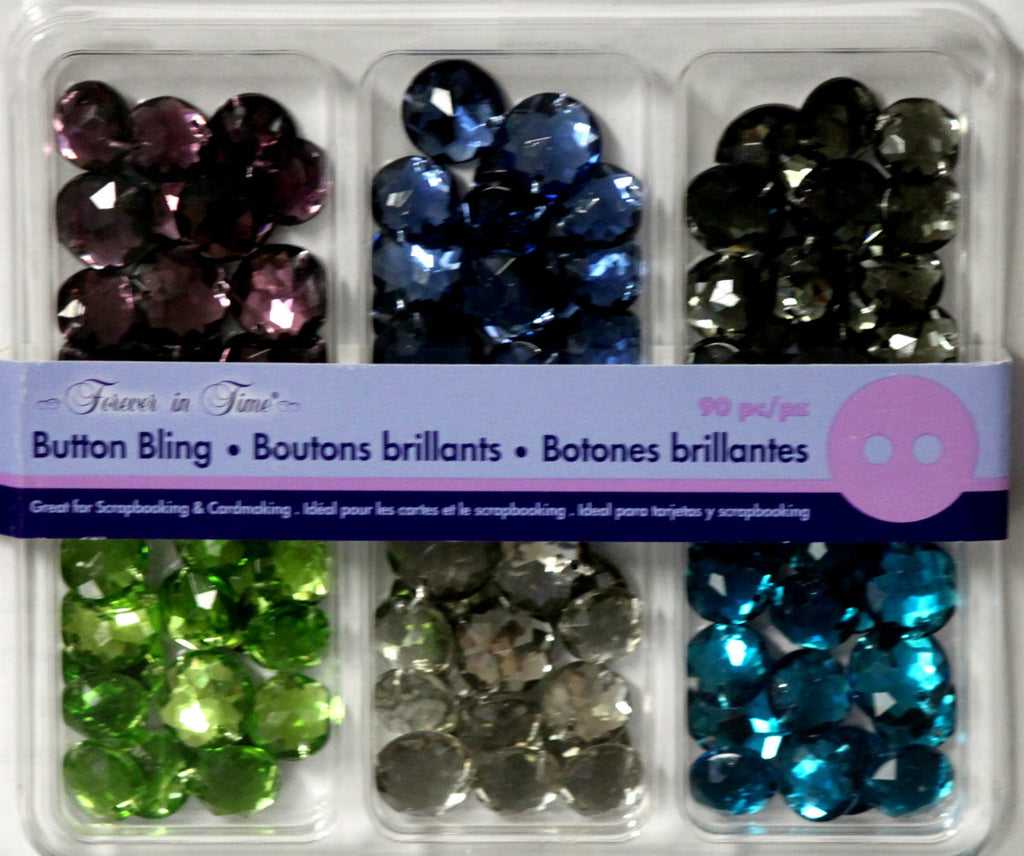 Forever In Time Button Bling Gem Variety Embellishments - SCRAPBOOKFARE