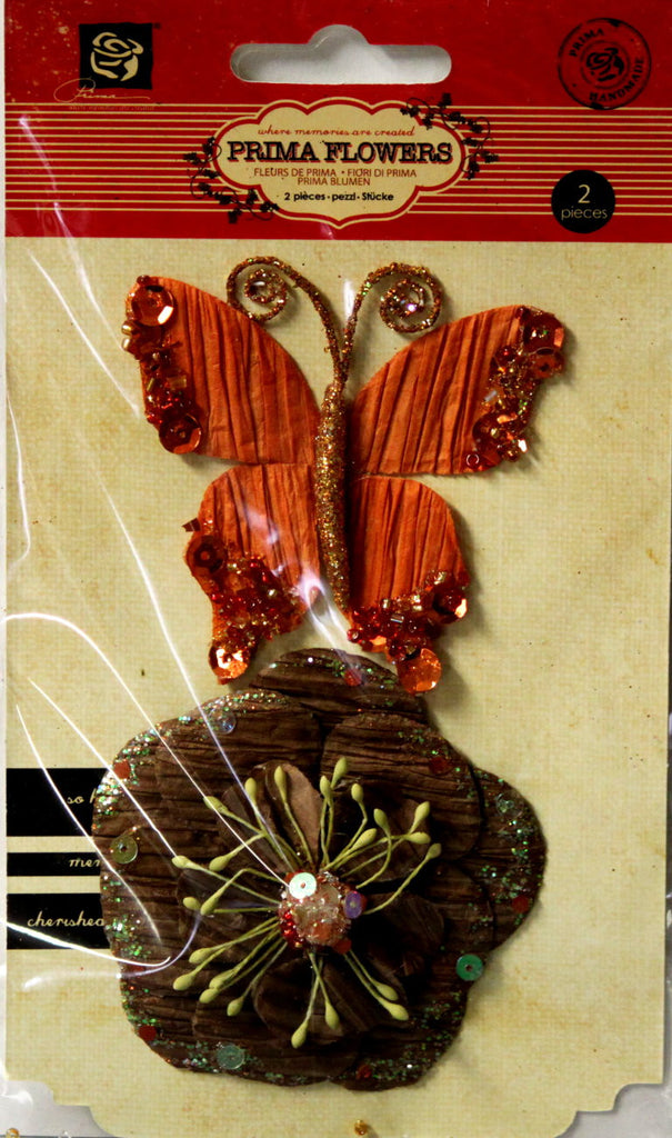 Prima Marketing, Inc. Prima Soiree Copper Flower & Butterfly Embellishments - SCRAPBOOKFARE