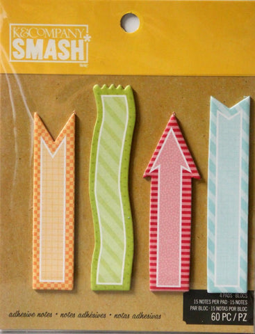 K & Company Smash Arrow And Banners Adhesive Sticky Note Pad Set