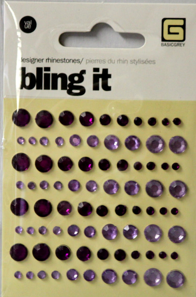 Basic Grey Bling It Designer Shades Of Purple Rhinestones Adhesive Embellishments - SCRAPBOOKFARE