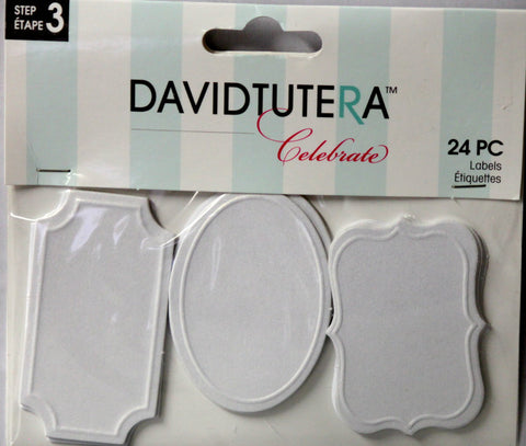 David Tutera Celebrate Frosted White Tags Embellishments - SCRAPBOOKFARE