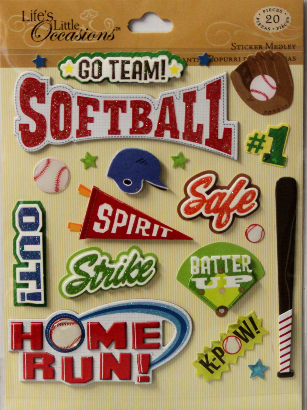 K & Company Life's Little Occasions Softball Dimensional Stickers Medley