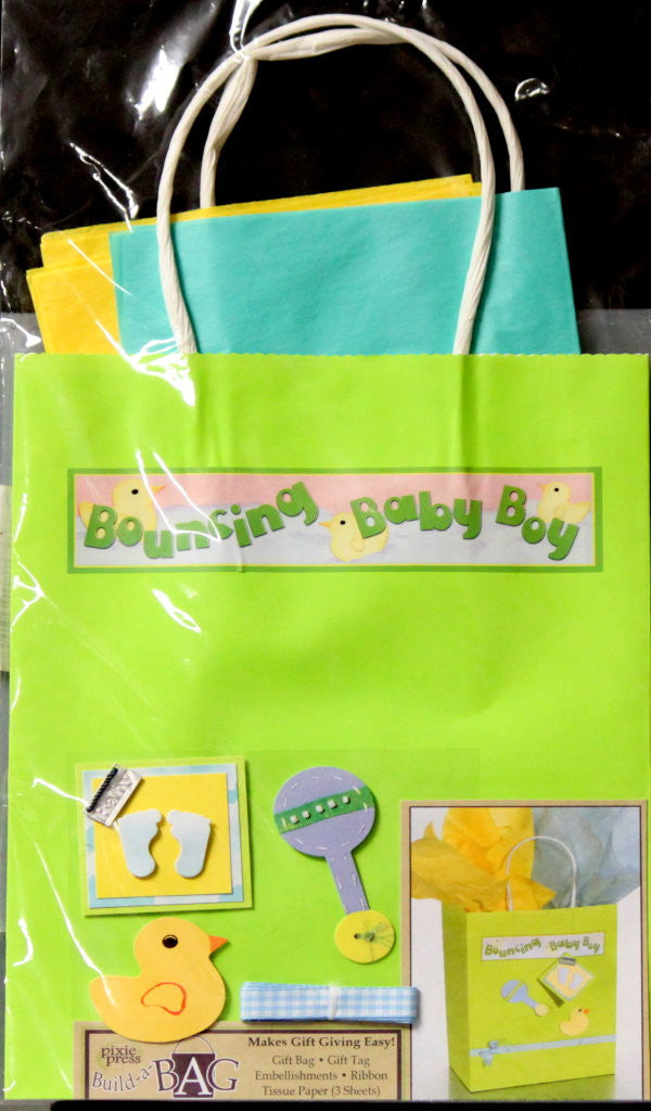 Pixie Press Build-A-Bag Baby Boy Gift Bag Kit - SCRAPBOOKFARE