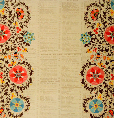 DCWV 12 X 12 Bohemian Sunrise Glossed Floral Borders On Newsprint Cardstock Scrapbook Paper