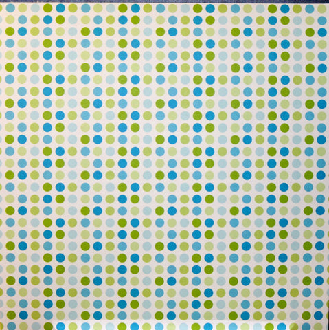 Springtime Lime Green & Blue Dots Coordinates Printed 12 x 12 Scrapbook Paper