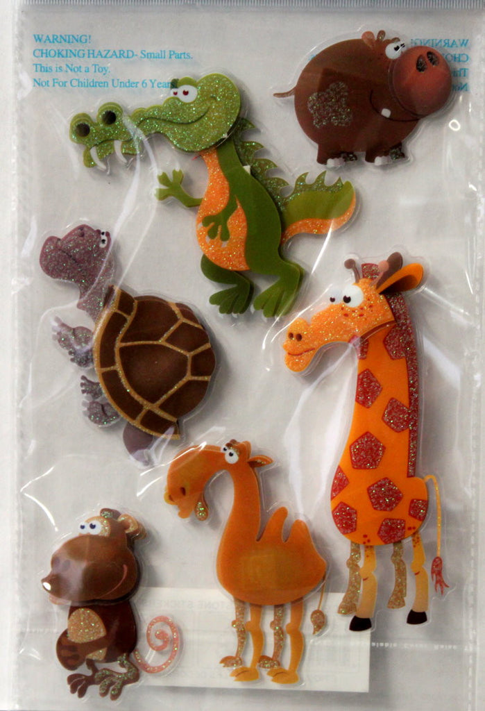Vivamerica Handmade Dimensional Glitter & Acetate Zoo Friends #3 Stickers