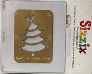 Sizzix Christmas Tree #3 Simple Impressions Brass Stencil & Embossing Folder