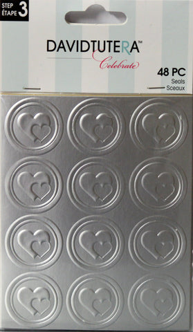 David Tutera Celebrate Embossed Silver Hearts Seals Embellishments - SCRAPBOOKFARE