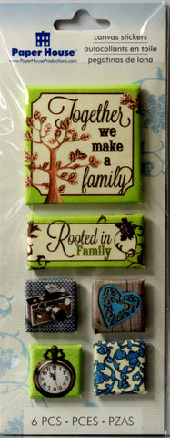 Paper House Canvas Family Dimensional 3D Stickers - SCRAPBOOKFARE