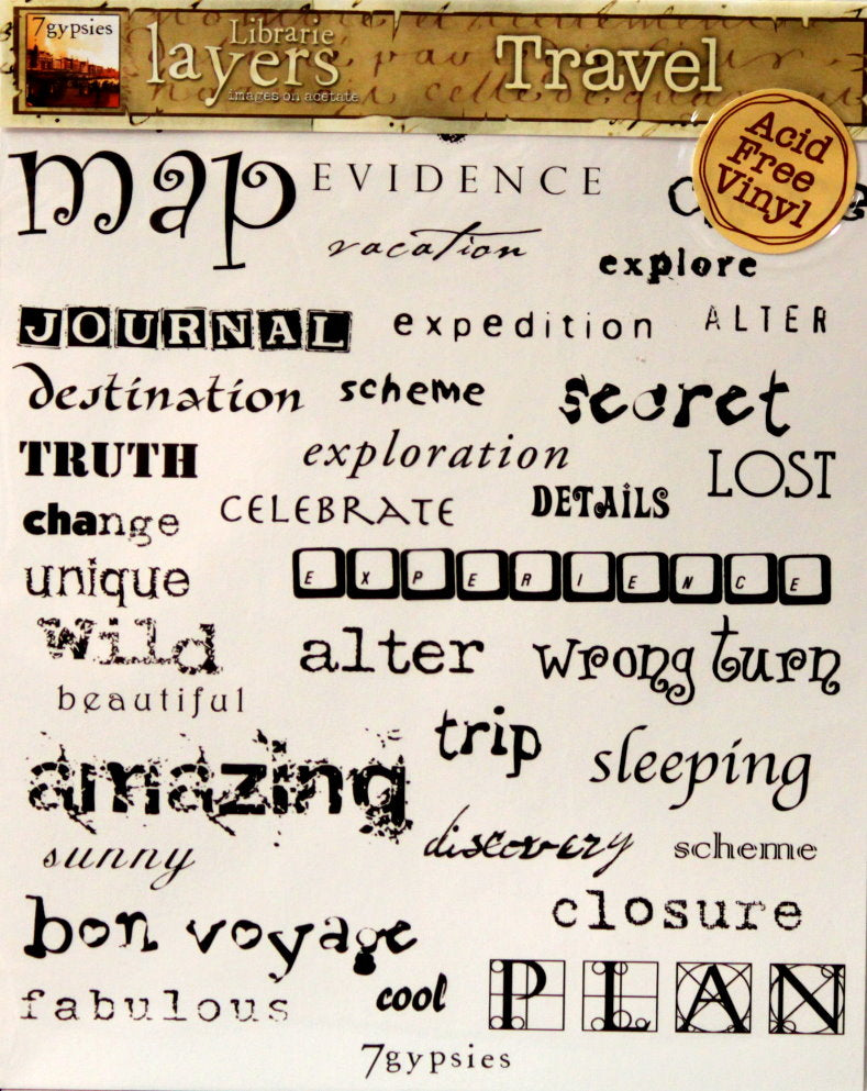 7gypsies Librarie Layers Travel Words Vinyl Embellishments