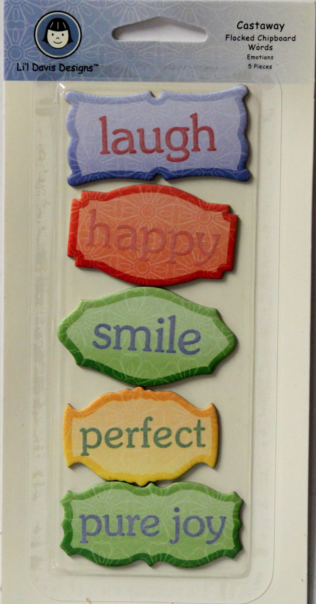 Li'l Davis Designs Castaway Flocked Chipboard Words Embellishments - SCRAPBOOKFARE