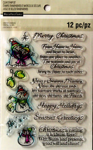 Recollections Snowman And Holiday Sentiments Clear Stamps Set