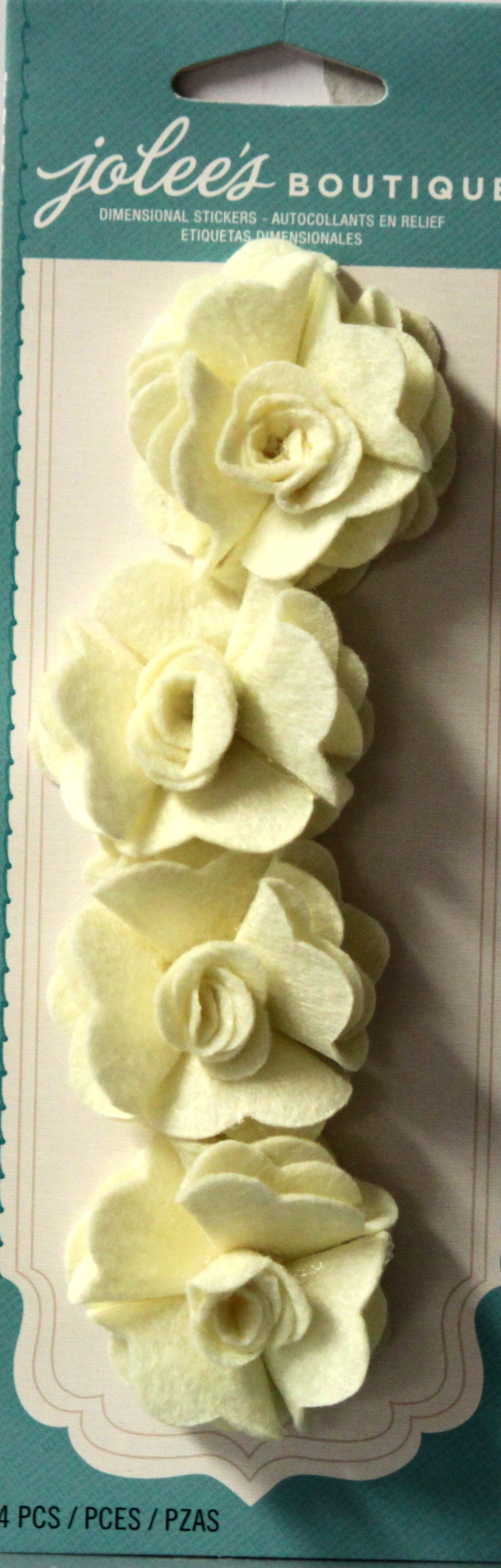 Jolee's Boutique Cream Felt Rose Dimensional Stickers