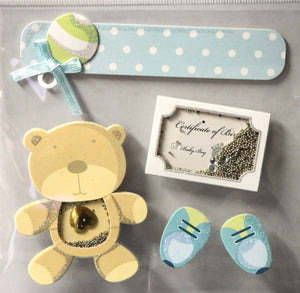 Baby Boy Teddy Bear Shaker Dimensional Stickers